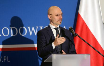 Minister Klimatu Michał Kurtyka na konferencji prasowej