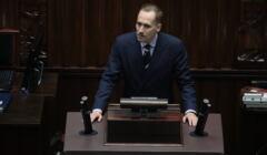 Poseł Konrad Berkowicz podczas posiedzenia Sejmu