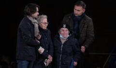 Wanda Traczyk_Stawska na demonstracji na placu Zamkowym w Warszawie
