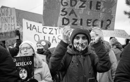 Michałowo, 23.10.2021. Miejsce dzieci nie jest w lesie – protest
